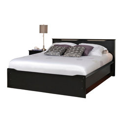 """Prepac Furniture - Prepac Coal Harbor 4 PC Queen Size Platform Bedroom Set in Black (Bed, Two Night - Constructed from CARB compliant composite wood finished in rich, deep laminates, the Coal Harbor 4 Pcs Queen Size Platform Bedroom Set with Headboard in Black (Bed, Two Nightstands and Dresser) - Prepac Furniture has an urban and sophisticated style making it ideal for contemporary, transitional and eclectic decor. Wooden slats provide ample mattress support and the mattress fits snuggly into a 3"""" deep recess in the bed frame. Sides are finished with sturdy 3.5"""" wide MDF rails, with openings underneath to provide optional storage space for baskets or tote boxes.    Bedroom Set includes Queen Size Bed with Headboard, two Nightstands and Dresser.  Chest could be added to complete the set.    Features:"""