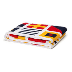 "In 2 Green - Eco Signal Flags Throw - Our throws are all knit in the USA with a blend of recycled cotton yarn (74% recycled cotton yarn, 24% acrylic, 2% other), generously sized at 50"" x 60"" and machine wash and dry...how easy is that!"