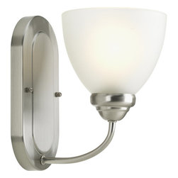 Progress Lighting - Progress Lighting P2913-09 Heart Single-Light Bathroom Sconce with Etched Opal - Progress Lighting P2913 Heart Collection Bathroom Light / Wall Sconce
