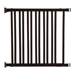 "Dreambaby - Nelson Adjustable Wood Gate Expresso Hardware Mount - This Dreambaby® Wooden Expandable gate is a simple solution to preventing your little ones from accessing areas of potential danger. Extremely versatile, this attractive Espresso colored New Zealand Pine gate, is adjustable and will fit 30"" – 48"" openings. For those really wide areas that need to be blocked off, you can even join two gates together to cover an area up 86.5"". Simple to install and it's easy to use with its one handed opening mechanism. It is hardware mounted so there is no potential tripping hazard to get in the way. It is 32"" high and it neatly fits into any décor without looking heavy. Keeping your kids safer and out of harm's way has never been easier."