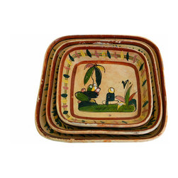 Hand Painted Platters - Trio of Mexican hand painted platters. Bright colors and interesting motifs of sleepy sombrero guy, trees and cactus. Circa 1950. Vintage condition and patina.
