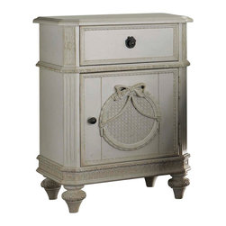 Lea Industries - Lea Emma's Treasures Nightstand in Vintage White - Nightstand in Vintage White belongs to Emma's Treasures Collection by Lea Inviting, casual and comfortable easily describes Emma's Treasures from Lea Furniture. Traditional styling mixed with a cozy time-worn appearance creates a collection of youth furniture sure to please any age girl. The distressed vintage white color finish, antiqued pewter-color hardware, the use of cane and crystal-cut mirrors all help create the shabby chic appeal of this group. Special features include vintage patterned drawer liners and hidden compartments on select pieces. Unique pieces include a vanity with bench, a mirrored door chest and a desk that can double as a larger vanity. Take a look at Emma's Treasures and create a room your child will treasure for years to come. And, as always, Emma's Treasures comes with the quality you expect from Lea Furniture. Safety is one of the key elements parents look for when buying products for their children. As a supplier of children's furnishings, we are committed to ensuring our products meet or exceed the safety requirements defined by the Consumer Product Safety Commission and the ASTM. Design and function combined with safety features makes the Emma's Treasures collection an ideal choice for any child's room.  Nightstand (1)