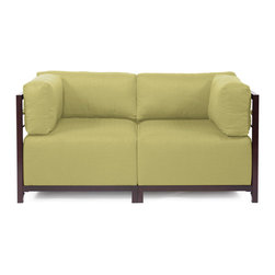 Howard Elliott - Sterling Willow Axis 2-piece Sectional - Mahogany Frame - A Fashionable Pair! Lounge in style on a Sterling Axis Loveseat. Float the Sterling Axis Loveseat in your room for an intimate seating arrangement. Expand your loveseat with additional Chair, Corner or Ottoman Pieces. This Loveseat features boxed cushions with Velcro attachments to keep the cushions from slipping and looking their best all of the time. Your Sterling Axis 2 pieces Sectional will definitely turn heads with its sophisticated linen-like texture and vibrant color selection. This Sterling Willow piece is 100% Polyester finished in a soft burlap texture in a willow green color. 65 in. W x 32.5 in. D x 30 in. H