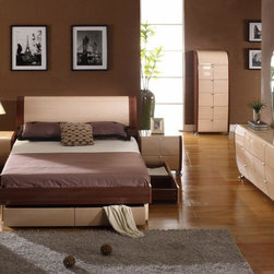 Maya Two-Toned Lacquer Storage Platform Bed - The set features a contrast of dark and light colors for a very welcoming effect.