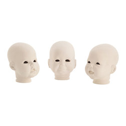 Kathy Kuo Home - Snoku Porcelain Modern Doll Head Sculptures- Set of 3 - Oh baby, what do we have here?  Seriously edgy porcelain doll heads, perfect for displaying alongside curiosities.