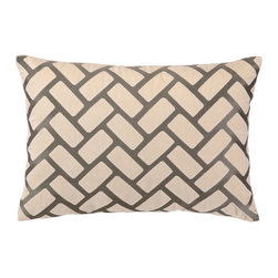 "DL Rhein - DL Rhein Rectangles Taupe Embroidered Velvet Pillow - Lush with texture, DL Rhein's Rectangles throw pillow epitomizes modern panache. Taupe embroidery atop cream velvet creates its geometric brickwork pattern. 20""W x 14""H; Includes 95/5 feather down insert; Hidden zipper closure; Dry clean only"