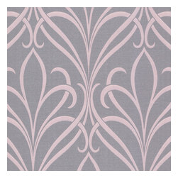 Decorline - Platinum (Decorline) Nouveau Damask Wallpaper - A captivating and sophisticated purple wallpaper. Brushed with a precious lavender metallic effect, the design brings a contemporary art nouveau swirl to walls. Each wallpaper bolt is 20.5 inches wide and 33 feet long, covering about 56 square feet. The pattern has a 25.2 inch repeat and a Drop match.