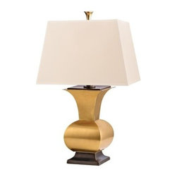 Hudson Valley - Hudson Valley L472-VB-WS 1 Light Small Table LampWater Mill Collection - Bronzed accents warmly complement the hand-worked patina of our Aged Brass finish.  Water Mill's defined edges add a striking dimension to the lamp's sculptural form.  Softly neutral, Water Mill's geometric shade completes the collection's duet of sleek a