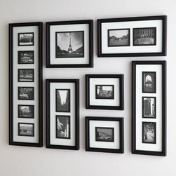 Horchow - Black & White Collage Frame - Exclusively ours. Versatile collage frame is actually a collection of frames that can be hung vertically or horizontally in an infinite number of configurations for a display as unique as your cherished photos and memories. Handcrafted of wood and gl...
