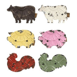 Metal Farm Animal Clips - These unique Metal Farm Animal Clips from Creative Co-Op feature a metal body with distressed paint in various colors.
