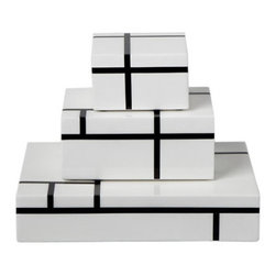 White/Black Grid Stacking Boxes - These are Mondrian, but without the color.