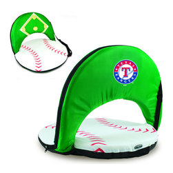 Picnic Time - Texas Rangers Oniva Seat Sport Reclining Seat in Baseball Print - Football fans will love this recreational reclining seat that's so lightweight and portable. The Oniva Seat Sport has an adjustable shoulder strap and six adjustable positions for reclining. The seat cover is made of brown polyester and has been designed so that the entire seat looks like a larger than life football! The bottom of the seat is black dimpled PVC so as not to soil easily, the frame is steel, and the seat is cushioned with high-density PU foam, which provides hours of comfortable sitting. The Oniva Sport - Football is great for the beach, the park, or as an indoor gaming seat and makes the perfect gift for fans of the great sport Americans call football!; Decoration: Digital Print
