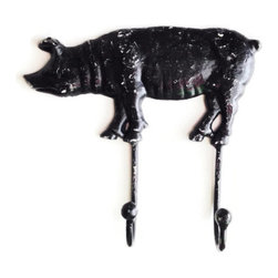 Pig Wall Hook - Pig Wall Hook, towel hanger, kitchen decor, key hook, rustic, country, farm animal decoration in distressed black.