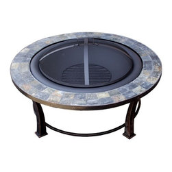 AZ Patio Heaters - Round Slate Top Wood Burning Firepit - 40 inch - Round Slate Top Wood Burning Firepit - 40 inch.Mesh screen