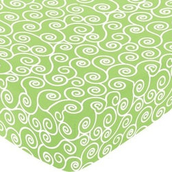 Sweet Jojo Designs - Olivia Scroll Print Crib & Toddler Sheet - The Olivia fitted crib sheet will help complete the look of your Sweet Jojo Designs nursery. This Olivia Scroll Print cotton sheet fits all standard crib and toddler mattresses and is machine washable for easy care.