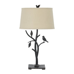 Cal Lighting - Cal Lighting BO-2301TB Medora 1 Light Table Lamp with 3-Way Switch - Cal Lighting BO-2301TB Medora 1 Light Table Lamp with 3-Way SwitchBring the outdoors into your home with this wonderful nature themed table lamp. Features a branch and leaf body with small bird accent, and a linen empire shade.Cal Lighting BO-2301TB Features: