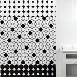 City Dots Shower Curtain - The City Dots Shower Curtain can be used in a great choice for your ultra-contemporary bathroom. The combination of black and white is accentuated with the jumbo dot pattern and the negative/positive upper and lower trim.About Creative BathFor over 30 years, Creative Bath has developed innovative, stylish bathroom decor items. They have grown exponentially, and now you can find their products in major retail and online stores around the world. From shower curtains to soap dishes and everything in between, Creative Bath brings you high quality items to enhance your lifestyle.