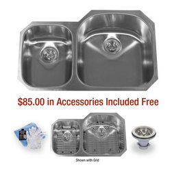"""Miseno - Miseno 32"""" Undermount Double Basin Stainless Steel Kitchen Sink 30/70 Split 18G - Included Free with Your Miseno Sink:"""