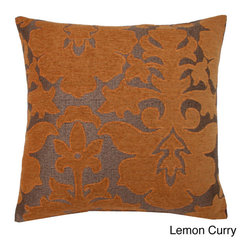 Thro - 20x20-inch Veronica Damask Feather Fill Pillow - Add a splash of color to your home with this plush down-filled pillow. This pillow comes in a variety of bold colors and features a contemporary damask design.