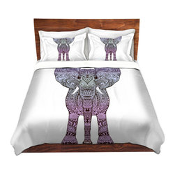 DiaNoche Designs - Duvet Cover Twill - Elephant Purple - Lightweight and super soft brushed twill Duvet Cover sizes Twin, Queen, King.  This duvet is designed to wash upon arrival for maximum softness.   Each duvet starts by looming the fabric and cutting to the size ordered.  The Image is printed and your Duvet Cover is meticulously sewn together with ties in each corner and a concealed zip closure.  All in the USA!!  Poly top with a Cotton Poly underside.  Dye Sublimation printing permanently adheres the ink to the material for long life and durability. Printed top, cream colored bottom, Machine Washable, Product may vary slightly from image.