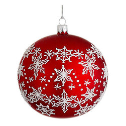 Silk Plants Direct - Silk Plants Direct Glass Snowflake Pattern Ball Ornament (Pack of 2) - Pack of 2. Silk Plants Direct specializes in manufacturing, design and supply of the most life-like, premium quality artificial plants, trees, flowers, arrangements, topiaries and containers for home, office and commercial use. Our Glass Snowflake Pattern Ball Ornament includes the following: