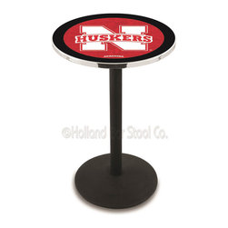 Holland Bar Stool - Holland Bar Stool L214 - Black Wrinkle Nebraska Pub Table - L214 - Black Wrinkle Nebraska Pub Table belongs to College Collection by Holland Bar Stool Made for the ultimate sports fan, impress your buddies with this knockout from Holland Bar Stool. This L214 Nebraska table with round base provides a commercial quality piece to for your Man Cave. You can't find a higher quality logo table on the market. The plating grade steel used to build the frame ensures it will withstand the abuse of the rowdiest of friends for years to come. The structure is powder-coated black wrinkle to ensure a rich, sleek, long lasting finish. If you're finishing your bar or game room, do it right with a table from Holland Bar Stool. Pub Table (1)
