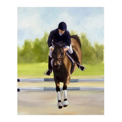 "Trademark Global - Horse of Sport X by Michelle Moate - Giclee A - Giclee on canvas. Ready to Hang Wall Art. Professionally mounted on a lightweight wooden frame. 36 in. W x 48 in. H x 1. 5 in. depthGiclee (jee-clay) is an advanced printmaking process for creating high quality fine art reproductions. The attainable excellence that Giclee printmaking affords makes the reproduction virtually indistinguishable from the original artwork. The result is wide acceptance of Giclee by galleries, museums, and private collectors.Now you can experience all the passion and spirit of Michelle Moate's atmospheric artwork. ""Horse of Sport X"" will add a sense of movement to any home or office decor.Born in Pensacola, Florida in 1970, Ellen King's (now known as Michelle Moate) artistic talent began to reveal itself in the form of drawing at an early age. She studied art and psychology at Wesleyan College in Macon, and later at Oglethorpe University in Atlanta. From there her interests turned toward computer art forms, which led her to attend the Art Institute of Atlanta and the Atlanta College of Art. After studying mostly computer animation, her need to express herself through paint and charcoal intensified. She began painting for the art market in 1997, and before her return to Florida, she gained notoriety within the Atlanta area as a premier local artist. She was also nominated for national recognition through the Academy of Fine Art Foundation's fine arts award program in 2002. She has consistently donated art for various charities, and has attended art shows throughout the southeast, as well as Art Expo New York in 1998, 1999, and 2002.Ellen's work evokes a mood of warmth and passion through the colors of her palette. From horses to wine, her art demonstrates her own personal connection with the subjects. Her overall style is impressionistic, and sometimes a few contemporary mediums are added to enliven the compositions and give them more pizazz. Ellen states: ""I took on the role as artist to appease the desire within my soul, which is to create art that allows me to lose myself in the images, as well as captivate my audience. "" Her success as an artist is attributed to her loyal clients and frequent public appearances. Ellen enjoys speaking with people about her art in local town squares, and in restaurants where she frequently sets up her easel to paint. She says, ""Painting outdoors or on location is a great way to get inspired and share my ability and knowledge of art with others. People love to watch me paint; they are immediately captivated and will express their interest in art or how the image I'm working on effects them. The experience is very rewarding. ""Ellen paints at her home-based studio in Okeechobee, Florida, where she constantly brings new ideas to life."