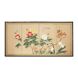 """Oriental Furniture - Butterflies in the Garden - 18"""" - The Butterflies in the Garden is an extraordinary painting, with large colorful blooms beneath fluttering butterflies. Note that no two renderings are exactly the same. Subtle, beautiful hand painted wall art."""