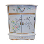 Oriental furnishings - Oriental End Table Painted Bird and Flower White Lacquer. - Distinguished Oriental end table in solid Philippine mahogany. Includes glass top and luxurious felt lined drawer. Meticulously hand painted bird and flower art and finished in glistening white lacquer finish. Fine brass hardware completes this unique piece. Add a touch of Asian warmth and nobility to your living room or bedroom. We feature a vast selection of quality Oriental lacquerware for your home. Why not add a complementary piece? Get yours today. Supplies are limited on hand painted Oriental imports.