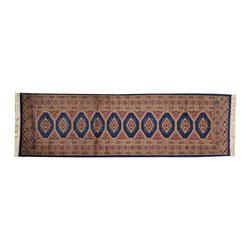 1800-Get-A-Rug - 100% Wool Hand Knotted Oriental Rug Denim Blue Bokara Runner Sh16200 - Our Tribal & Geometric hand knotted rug collection, consists of classic rugs woven with geometric patterns based on traditional tribal motifs. You will find Kazak rugs and flat-woven Kilims with centuries-old classic Turkish, Persian, Caucasian and Armenian patterns. The collection also includes the antique, finely-woven Serapi Heriz, the Mamluk Afghan, and the traditional village Persian rug.
