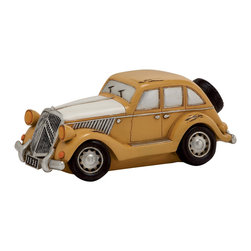 Mustered Polished Appealing Polystone Car Piggy Bank - Description: