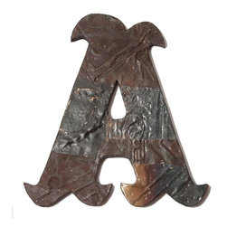 Ozark Folk Art - Antique Tin Letter A  (13in x 14in) - This line of antique decorative letters are handmade in the United States from reclaimed ceiling tin from the early 1900's.  Constructed from various pieces of tin hammered to evoke a patch work effect, each letter has a unique color pattern and texture.  These historic letters have a beautiful weathered and aged look.  Shades, level of distress and tin patterns vary based on the age and location of their original structure.  The tin is secured to a black painted, solid wood backing with hanging hardware attached.  All letters are available in a large and small size.  They are easy to hang on the wall or lean on a shelf, a bit of history perfect or any decor.
