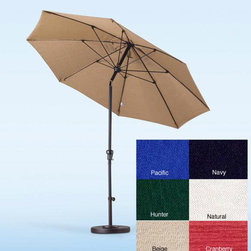 Olefin - Fiberglass Olefin Crank and Tilt 9-Foot Umbrella - Keep cool in the shade of this handsome 9-foot fiberglass umbrella