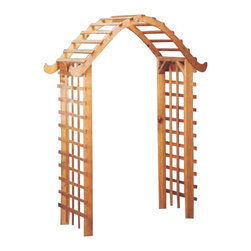 Red Cedar Pegoda Style Arbor - The ever popular Pegoda style Arbor we offer is constructed of Western Red Cedar.  Cedar offers the qualities of being weather resistant as well as being pest resistant.  Unlike some other pegoda designed arbors, this one features simple lines to give you just a touch without going overboard.  Superior construction.  You will enjoy this arbor for many years to come.