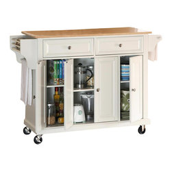 Crosley Furniture - Crosley Furniture Natural Wood Top Kitchen Cart in White Finish - Crosley Furniture - Kitchen Carts - KF30001EWH - Constructed of solid hardwood and wood veneers this mobile kitchen cart is designed for longevity. The beautiful raised panel doors and drawer fronts provide the ultimate in style to dress up your kitchen. Two deep drawers are great for anything from utensils to storage containers. Behind the four doors you will find adjustable shelves and an abundance of storage space for things that you prefer to be out of sight. The heavy duty casters provide the ultimate in mobility. When the cabinet is where you want it simply engage the locking casters to prevent movement. Style function and quality make this mobile kitchen cart a wise addition to your home.