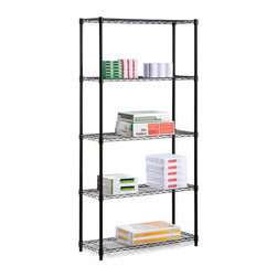 Honey Can Do - Five Tier Black Storage Shelves - 200Lb - Adjustable, modular. 200 lb capacity. 13.8 in.x 35.9 in. x 72 in.