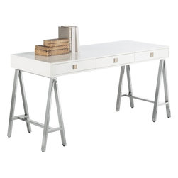wes - Savoy Desk - White lacquered finish, chrome base, 3 drawers.