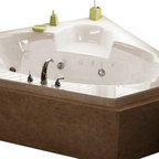 Spa World Corp - Atlantis Tubs 6060SWR Sublime 60x60x23 Inch Corner Whirlpool Jetted Bathtub - The Sublime collection features a classic, corner tub design with an oval opening that will fit perfectly into any bathroom design setting. Molded seat provides comfort and safety.   Whirlpool tubs feature jets and recirculating pumps to supply a hydro-therapeutic experience.  Whirlpool tubs are designed to provide a more vigorous and comforting massage with jets positioned to direct warm water to areas like the lower and upper back, shoulders and legs.  The Atlantis whirlpool hydro therapy configuration consists of symmetrically-allocated, 360 degrees; direction-adjustable water jets. System control is located on the entrance side panel, allowing bathers to turn water streams on and off.  Drop-In tubs have a finished rim designed to drop into a deck or custom surround.  They can be installed in a variety of ways like corners, peninsulas, islands, recesses or sunk into the floor.  A drop in bath is supported from below and has a self rimming edge that is designed to sit over a frame topped with a tile or other water resistant material.  The trim for the air or water jets is featured in white to color match the tub.