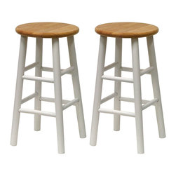 Winsome - Set of 2 Beveled Seat 24 in.  Stools - Natural & White - Solid wood construction bar stool. All assembled. White frame with Natural seat. Bevel seat provides comfort seating