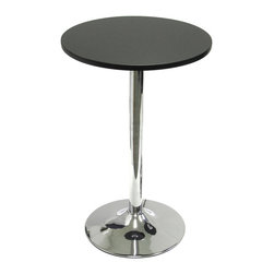 Winsome - Spectrum 20 in.  Round Bistro / Tea Table - 20 in. Tea/snack table pairs nicely with our S/2 swivel chairs (item 93220) to make a comfy spot to sit and have drinks or coffee and a chat. Made of durable MDF material the table top is finished in matte black and has a chrome color leg.