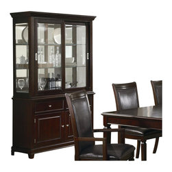 """Coaster - Coaster Ramona Formal Dining Room China Cabinet in Walnut Finish - Coaster - China Cabinets - 101634 - With this gorgeous buffet and hutch you'll be ready for any hosting situation. The piece comes in a warm Walnut finish and features silver knobs and birch veneers that will blend beautifully into your dining room decor. In addition the two drawers and cabinets are great for storing silverware dishes and tablecloths while the hutch includes two sliding glass doors as well as three glass shelves for keeping your finer china and wine glasses. Bring function and refinement into your home with this buffet and hutch set.  Walnut finish Silver knobs and sliding glass door handlesLong tapered LegsContemporaryTwo Drawers Two Cabinet Doors and Two Sliding Glass Doors4 DoorsWalnut finished tops Specifications: Overall dimensions: 79.25"""" H x 49"""" W x 18.5"""" D Product Weight: 253 lbs"""