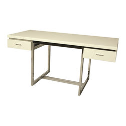 """Pastel Furniture - Pastel Furniture Dupont Contemporary / Modern Contemporary Lamp X-WM-HC-715-TD - The Dupont Desk with 28"""" x 62"""" rectangular wood top features two self closing drawers. Its clean-lined Chrome metal frame and Matte White or Walnut wood finish is a unique yet simple design perfect for any office space. The desk can be paired beautifully with any office chair."""