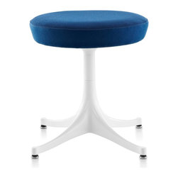 Herman Miller - Herman Miller Nelson Pedestal Stool - An original George Nelson design from the mid-1950s, the Nelson Pedestal Stool displays the elegant lines Nelson was known for. The base of the stool is the same as the base of Nelson's Pedestal Tables and is available in a variety of finishes. And as an added benefit, the stools are manufactured with recyclable upholstery and aluminium.