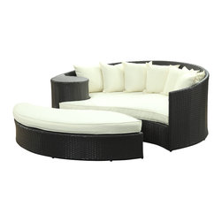 LexMod - Taiji Outdoor Wicker Patio Daybed with Ottoman in Espresso with White Cushions - Harmonize inverse elements with this radically pleasing daybed set. Seven plush throw pillows adorn Taiji's thick all weather orange cushions allowing for the splendorous blending of mediating elements. Find the key to attainment as you bask in a charged and unified landscape of expansiveness.