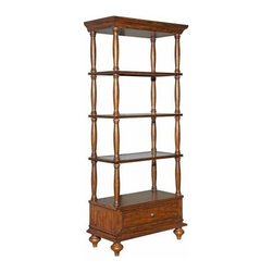 """Kincaid - Kincaid Artisan'S Shoppe Birmingham Etagere 90-1102Spool turnings dictate the style of this 83"""" tall solid alder etagere.  Three wood framed glass shelves and drawer storage feature cove shaping to add detail.SKU: 90-1102Finish: WhiskeyCollection: Artisan'S ShoppeManufacturer: Kincaid FurnitureWeight(lbs): 0Volume: 9.2Height: 82.81Width: 35.37Depth 8.81One drawer three wood framed glass shelves can light"""