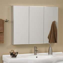 Clairement Series Aluminum Tri-View Medicine Cabinet with Mirror - Classic style and clean design make the Clairement Aluminum Medicine Cabinet a great storage solution for any bathroom. Three doors open to reveal four adjustable glass shelves, perfect for keeping your bathroom necessities within reach and hidden from sight.