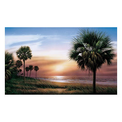 York Wallcoverings - Beach Palm Trees Giant Prepasted Wallpaper Accent Mural - Features: