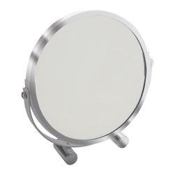 Gedy - Chrome Free Standing Makeup Mirror - A chrome free standing makeup mirror with round shape. It comes with 2 mirror sides. One side is 5x magnification while the other is regular 1x. Designed by Gedy in Italy. Round modern makeup mirror. Crafted out of glass and thermoplastic resin with chrome finish. From the Gedy Specchi collection.