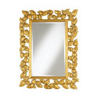 Bright Gold Leaves Wall Mirror - Shiny, traditional and glamorous, this mirror has a great leaf motif whose openwork will look lovely against a gilded wallpaper.
