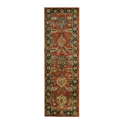 """Nourison - Nourison Jaipur JA35 2'4"""" x 8' Brick Area Rug 00278 - Lush intensity of color is underscored by the dramatic contrast of deep brick red and ebony black, bejeweled with touches of jade and aquamarine. Bold flowerheads march in stately procession across the center field and around the border in a regal display of beauty."""